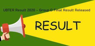 UBTER Result 2020 – Group D Final Result Released