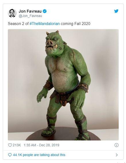 Announcement of return of The Mandalorian 2